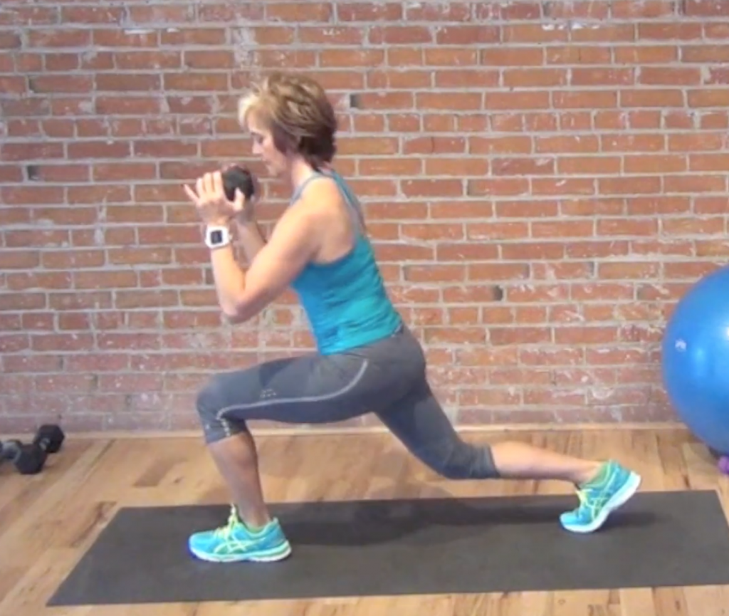 Rear lunge stepping back with right leg