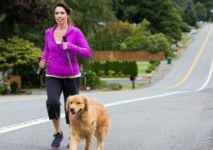 Golden Retriever running on leash with a pretty woman up a hill