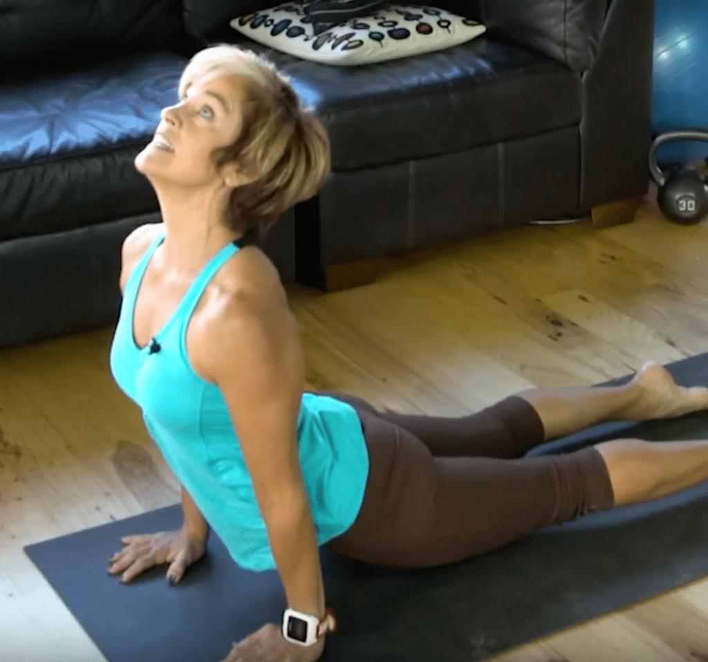 midlife woman doing yoga
